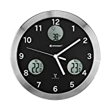 Bresser MyTime Io horloge murale radio pilotée ultra silencieux, noir