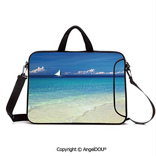 AngelDOU Neoprene Printed Fashion Laptop Bag Exotic Tropic Beach in Philippines Island Horizon Summer Paradise Concept Notebook Tablet Sleeve Cases Compatible with Lenovo Asus Acer HP Turquoise Cre