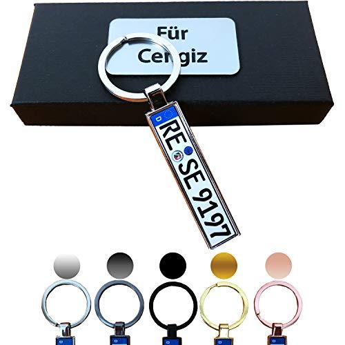 B4P Schlüsselanhänger Kennzeichen Nummernschild Auto KFZ Individuell als Geschenk Für...