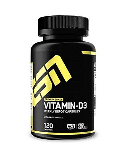 ESN Vitamin D3 Depot – 120 Kapseln – Premium: 5600 I.E. Vitamin D3 (natürlich) – 1 Kapsel pro Woche (Depot) – Made in Germany