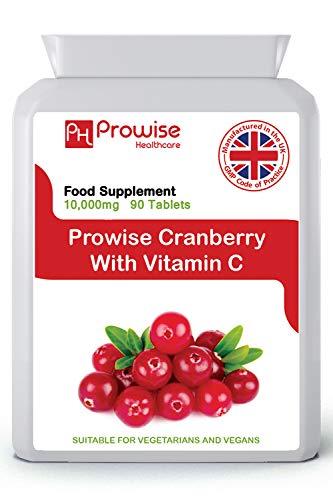 Arándano rojo doble fuerza 10,000 mg 90 tabletas con vitamina C agregada - Suplemento diario de alta fuerza - Fabricado en el Reino Unido | Estándares GMP de Prowise Healthcare
