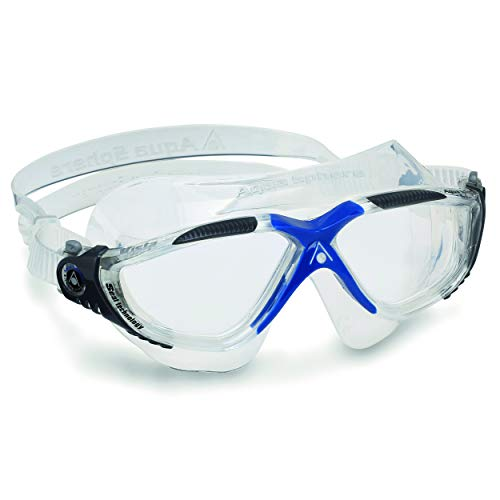 Aqua Sphere Vista Swim Mask with Clear Lens, Gray/Blue