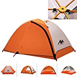 3-4 Season Backpacking Tent for 1-2 Person, AYAMAYA Winter Cold Weather Ultralight Double Layer Waterproof 2 Doors & 2 Top Vent Easy Setup 2 Man Camping Tents for Backpacker Hiking Fishing Bikepacking