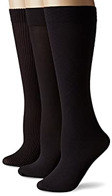 "3 pair pack of trouser socks Soft, non-binding comfort top that stays in place 3 pack assortment includes a pair of each: Rib Texture, Flat Knit, Diamond Pattern Sock 9.13"" high, 3.38"" wide Perfect option between sheer knee highs and knit socks"