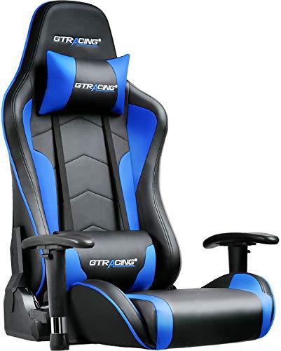 GTRACING ゲーミングチェア 座椅子 180度リクライニング ハイバック 可動肘 ヘッドレスト クッション付き ...