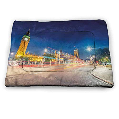 "prunushome Urban Dog/Cat Cage Mat Cusion Big Ben Westminster UK Washable Non-Slip Crate (40""x27"")"