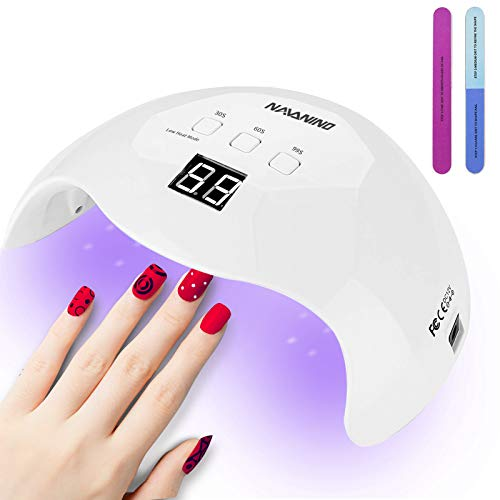 UV LED Nail Lamp, NAVANINO 48W Nail Dryer Gel Nail Light for Nail Polish, Light Curing in 3 modes for time, Low heat mode 99s and LCD Display, For Manicure/Pedicure Nail Art at Home