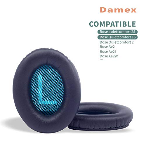 Damex Headphone Ear Pads Replacement Cushion for Bose QC25 Quiet Comfort 25, QC15,AE2,AE2I Earpad (Blue)