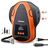 TEROMAS Tire Inflator Air Compressor, Portable DC/AC Air Pump for Car Tires 12V DC and Other Inflatables at Home 110V AC, Digital Electric Tire Pump with Pressure Gauge(Orange)