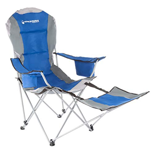 Wakeman Outdoors Camp Chair with Footrest-300lb. Capacity Recliner Quad Seat with Cup Holder, Cooler, Carry Bag-Tailgating, Camping, Fishing (Blue)