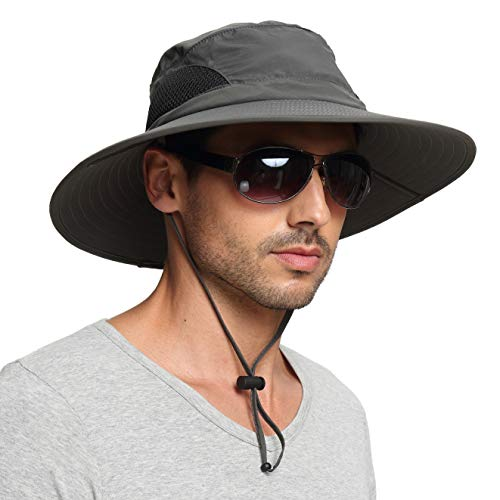 EINSKEY Men's Waterproof Sun Hat, Outdoor Sun Protection Bucket Safari Cap For Safari Fishing Hunting Dark Gray One Size