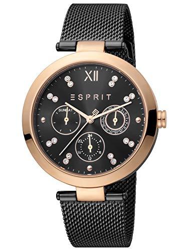 Esprit ES1L213M0085 Florine Black Rosegold Uhr Damen-Uhr Edelstahl Datum schwarz