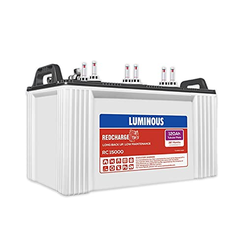 Luminous Red Charge RC 15000 120 Ah Recyclable Tubular Inverter Battery for Home, Office & Shops...