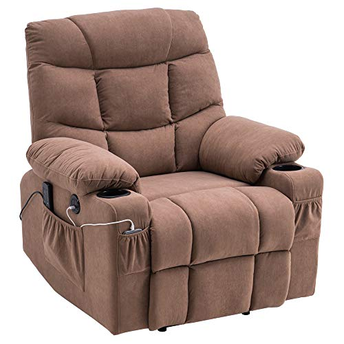 Functional Massage Chair Power Lift Recliner Chair, Elderly Lay Flat Sleeper Recliner with Massage/Heat/Vibration/Remote Control, Cloth Fabrics, w/ 2 Side Pockets and Cup Holders