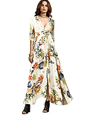 Material: Rayon; V Neck, Half Sleeve, Short Sleeve, Floral Print Maxi Dress for Women, A Line, Buttons Up, Flowy, Split Suitable for Spring, Summer and Fall; Great for Vacation, Beach, Party, Going Out, Traveling Regular Fit; Machine Washable; Do Not...