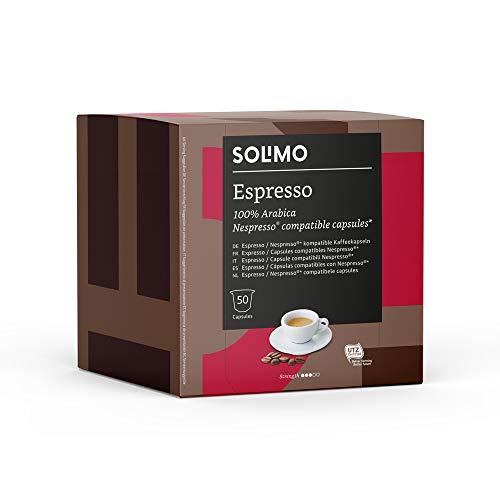Marchio Amazon - Solimo Capsule Espresso, compatibili Nespresso* - caffè certificato UTZ, 100 capsule (2 x 50)