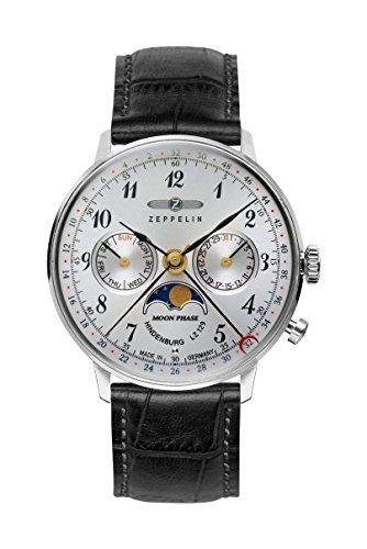 Zeppelin Unisex Chronograph Quarz Uhr mit Leder Armband 7037-1