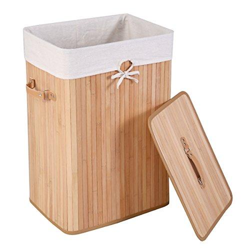 DREAMADE Wäschekorb 72L, Wäschesammler aus Bambus, Wäschetruhe Wäschebox Wäschetonne Wäschesack Wäschekorb, mit Deckel (Natur)
