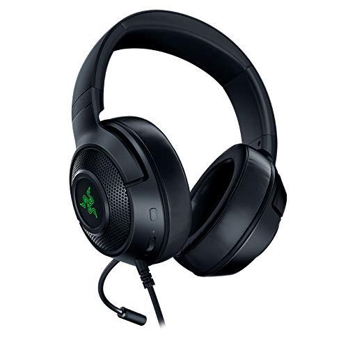 Razer Kraken X USB - Auriculares Gaming con sonido envolvente digital 7.1, micrófono cardioide plegable, comodidad ligera, Negro (USB)