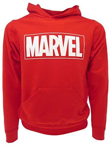 Felpa Marvel Originale Logo Scritta Rossa con Cappuccio Uomo Adulto Ragazzo con Tasche (M)