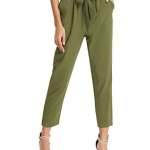 GRACE KARIN Women's Cropped Paper Bag Waist Pants with Pockets 34