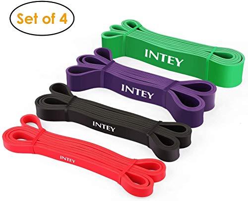 INTEY Elastici Fitness - 4 Set di Bande Elastiche di Resistenza, Resistenza di 15-125Lb, per...