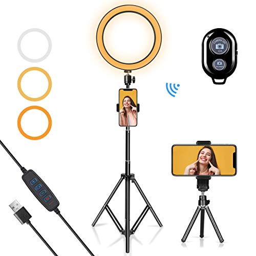 LED Ring Light 10' with Tripod Stand & Phone Holder for YouTube Video, Desk Selfie Ring...