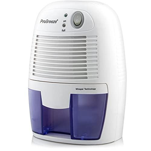 Pro Breeze Mini Deshumidificador 500ml Eléctrico, Silencioso y Portátil. Apagado automático. Contra la Humedad y el Olor. Elimina el Moho de la Habitación, Baño y Cocina