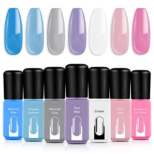 Gel Nail Polish Set, Cream Blue Purple Pink White Grey 7 Colors Gift Box Soak Off Nail Gel Manicure Set by Modelones