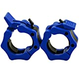 Greententljs Olympic Barbell Weight Clamps 2 Inch Clips Quick Release Locking 2' Pro Olympic Bars Deadlifts Weights Plates for Squats Weightlifting Fitness Body-Solid (Blue, Pair Set)