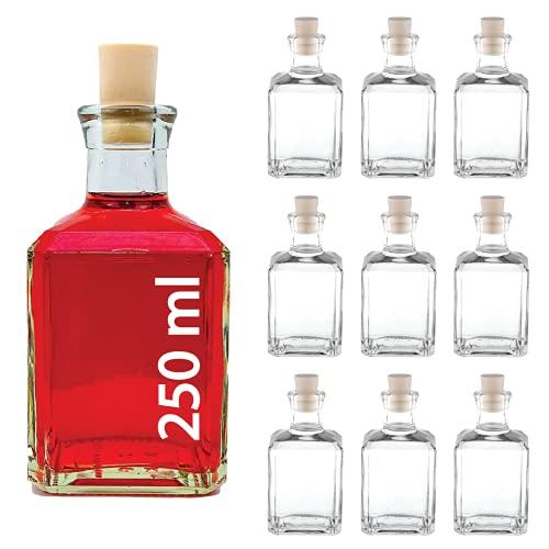 10 x 250ml -Mystik SPI--Glas-Flaschen Leere zum abfüllen inklusiver Korken kleine Flaschen (10...