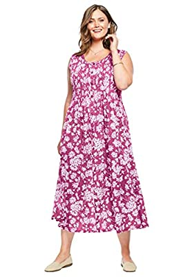 PLUS SIZING: Size 2X will fit Plus sizes 26 to 28 This lovely pintucked dress drapes beautifully with a flared, sweeping skirt. Pintucks on the front and back along with a faux button-front add a little polish that pairs perfectly with a cute cardiga...