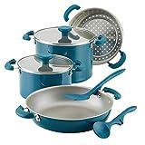 Rachael Ray 8-Piece Aluminum Cookware Set, Teal Shimmer