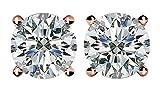 CDC CVD Diamond stud Earrings (Lab Grown Diamonds) 14K Rose Gold-1.95ct (1.90 to 1.99pts) G-H color VS-SI