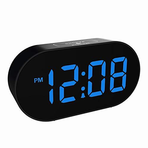 Plumeet [Updated Version] LED Alarm Clock - Digital Clocks with Adjustable Brightness Dimmer and Alarm Volume - Blue Digit Display 12-24 Hrs - Kids Clocks with Snooze USB Port Phone Charger (Blue)