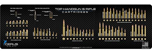 EDOG TOPGUN+ Gun Cleaning Mat - Top Handgun & Rifle Cartridges XXL 14 X 48 Compatible All Rifles & Pistols 3 mm Padded Pad Protects Your Firearm Magazines Bench Table Surfaces Oil Solvent Resistant