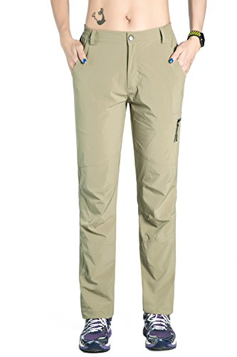 Nonwe Women's Breathable Quick Dry Hiking Camping Pants Khaki L/30.5' Inseam