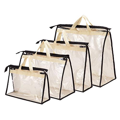 "41XoPWD3LAL 【Clear Storage Bags】These handbag bags with 3 sides clear transparent material, which is clear for easy recognization and easy to clean 【4 Different Sizes】Clear handbag organizers come in 4 different sizes: 17"" x 14"" x 7.5"", 15"" x 11"" x 4.7"", 15"" x 10"" x 7.1"", 13"" x 8.3"" x 4.3"", various sizes in small medium and large for organizing multi bags and purses 【Portable Design】The handbag storage is designed with zipper and handle for better protect bags from dust and easy to hang in closet or anywhere"