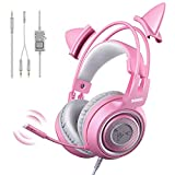 SOMIC G951s Pink Stereo Gaming Headset with Mic for PS4, Xbox One, PC, Mobile Phone, 3.5MM Sound...