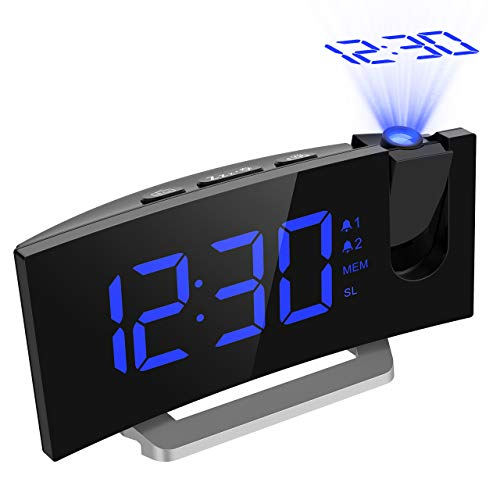 Mpow Radio Reveil Projection Plafond, Reveil Matin Afficheur LED de 5 Pouces, Téléphone de Charge USB, Horloge avec 2 Modes d'Alarme, 4 Sons D'Alarme, 6 Niveaux de Luminosité de l'écran, Snooze