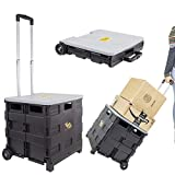 dbest products Quik Cart two wheeled collapsible handcart with grey lid rolling utility with seat...