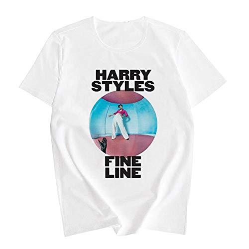 XCLWL T-Shirt da Donna Harajuku Fine Line Ript-Shirt Unisex Geek Magliette Hip-Hop Divertente Estetico Casual -A-1_S