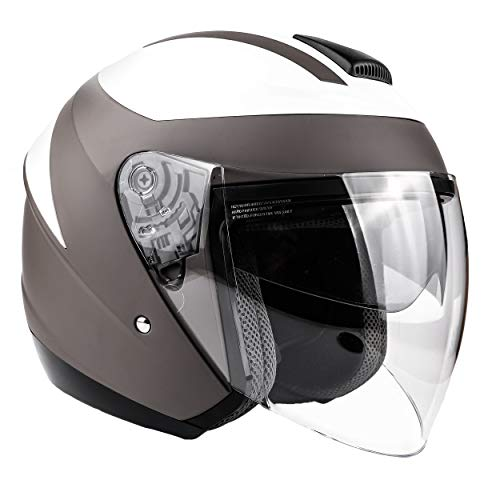 Typhoon 3/4 Helmet With Face Shield & Retractable Sun Visor DOT Motorcycle Scooter Moped Cruiser - Gray White - XL