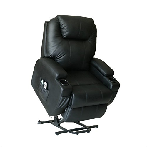 U-MAX Massage Recliner Power Lift Chair for Elderly Heated Faux Leather with Remote Control Lounge Side Pockets Sofa