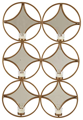 Ashley Emilia Metal and Mirrored Glass Wall Sconce Candle Holder