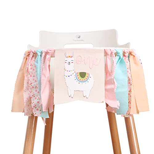 Lama Birthday High Chair Banner - Pink and Mint Alpaca.Llama high chair banner girl 1st birthday, pink ONE carnival birthday party decoration, succulent garland cactus.Studio photo props (Lama)