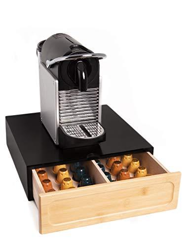FMC Solution Cassetto Porta Capsule Nespresso Dolce Gusto - Contenitore in Legno di Pino e bambù per Accessori caffè - Ideale per Casa e Ufficio (Nero)