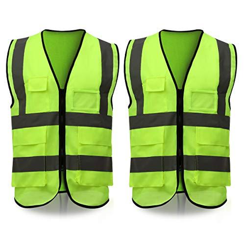 ELUTO Warnweste EN471 Warnwesten Auto Sicherheitsweste 360 Grad Reflektierende Warnschutzweste für Auto KFZ Fahrrad Motorrad mit Phone & ID Taschen, 2 Stück