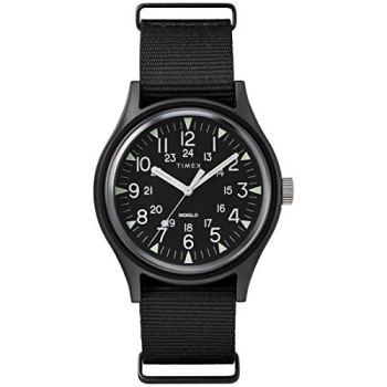 Timex Men's MK1 Aluminum 40mm Watch – Black with Fabric Slip-Thru Strap