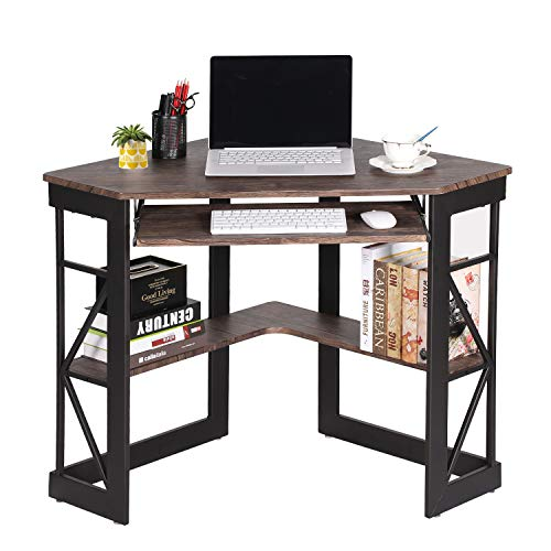 VECELO Desk with Keyboard Corner Computer Writing Shelves, Compact...